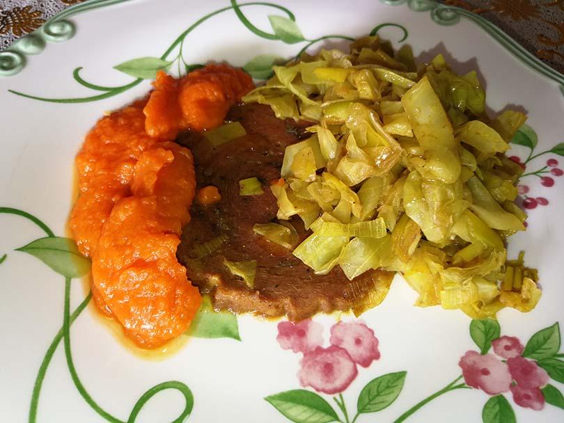 Arrosto Rosa con cappuccio e purea di zucca al peperoncino di cayenna