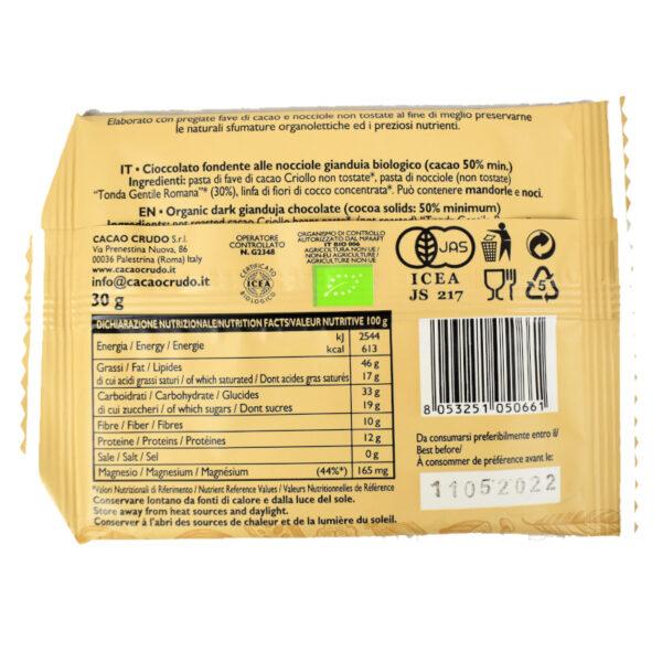 Tavoletta di cioccolato crudo fondente con nocciole tipo Gianduia BIO 30 gr