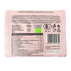 Tavoletta di cioccolato crudo fondente al sale rosa BIO 30 gr