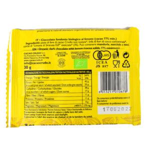 Tavoletta di cioccolato crudo fondente al limone BIO 30 gr