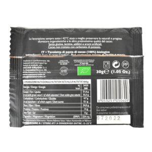 Tavoletta di pasta di Cacao crudo 100% BIO 30 gr