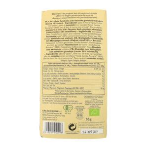 Tavoletta di cioccolato crudo fondente con nocciole tipo Gianduia BIO 50 gr