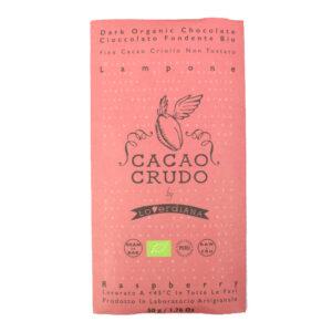 Tavoletta di cioccolato crudo fondente al lampone BIO 50 gr
