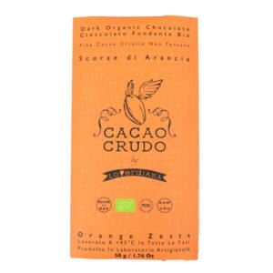 Tavoletta di cioccolato crudo fondente all'arancia BIO 50 gr