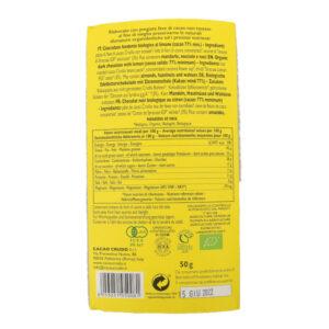 Tavoletta di cioccolato crudo fondente al limone BIO 50 gr